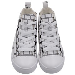 Wall Pattern Rectangle Brick Kid s Mid Top Canvas Sneakers