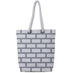 Wall Pattern Rectangle Brick Full Print Rope Handle Tote (small) by BangZart