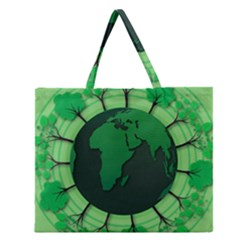Earth Forest Forestry Lush Green Zipper Large Tote Bag by BangZart
