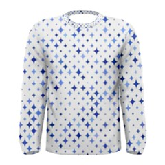 Star Curved Background Blue Men s Long Sleeve Tee
