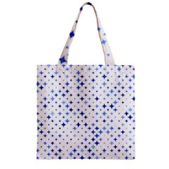 Star Curved Background Blue Zipper Grocery Tote Bag