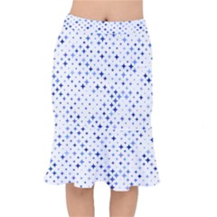Star Curved Background Blue Mermaid Skirt