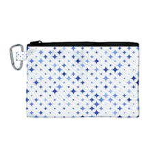 Star Curved Background Blue Canvas Cosmetic Bag (medium)