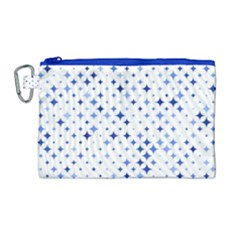 Star Curved Background Blue Canvas Cosmetic Bag (large)