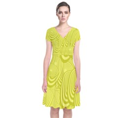 Yellow Oval Ellipse Egg Elliptical Short Sleeve Front Wrap Dress