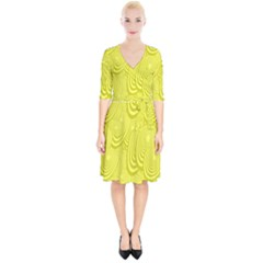 Yellow Oval Ellipse Egg Elliptical Wrap Up Cocktail Dress