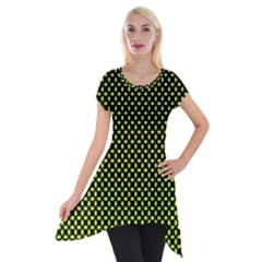 Pattern Halftone Background Dot Short Sleeve Side Drop Tunic