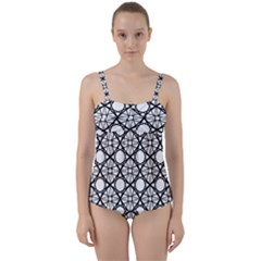 Line Stripe Curves Curved Seamless Twist Front Tankini Set