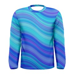 Blue Background Water Design Wave Men s Long Sleeve Tee by BangZart