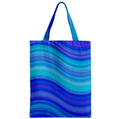 Blue Background Water Design Wave Zipper Classic Tote Bag