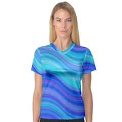Blue Background Water Design Wave V Neck Sport Mesh Tee