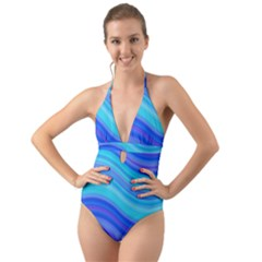 Blue Background Water Design Wave Halter Cut Out One Piece Swimsuit