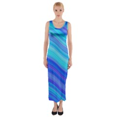 Blue Background Water Design Wave Fitted Maxi Dress
