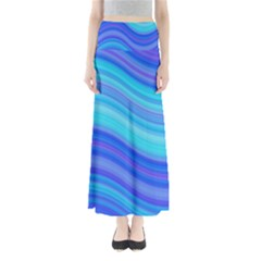 Blue Background Water Design Wave Full Length Maxi Skirt