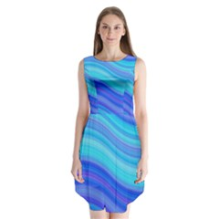 Blue Background Water Design Wave Sleeveless Chiffon Dress