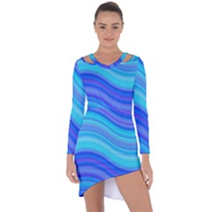 Blue Background Water Design Wave Asymmetric Cut Out Shift Dress