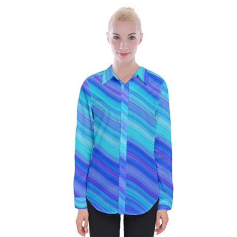 Blue Background Water Design Wave Womens Long Sleeve Shirt by BangZart
