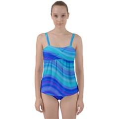 Blue Background Water Design Wave Twist Front Tankini Set