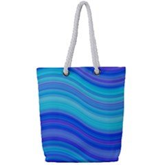 Blue Background Water Design Wave Full Print Rope Handle Tote (small)
