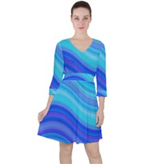 Blue Background Water Design Wave Ruffle Dress