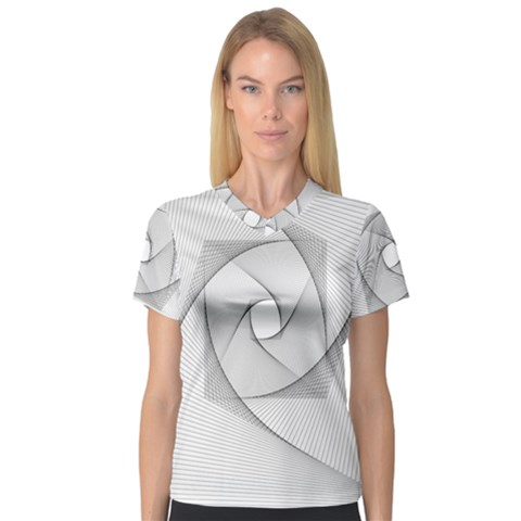 Rotation Rotated Spiral Swirl V-neck Sport Mesh Tee by BangZart