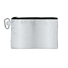 Monochrome Curve Line Pattern Wave Canvas Cosmetic Bag (medium)