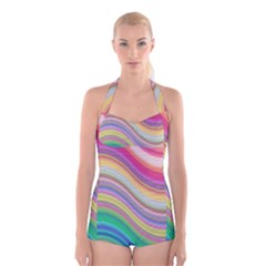 Wave Background Happy Design Boyleg Halter Swimsuit
