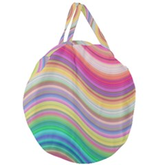 Wave Background Happy Design Giant Round Zipper Tote