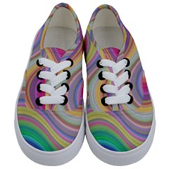 Wave Background Happy Design Kids  Classic Low Top Sneakers