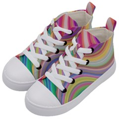 Wave Background Happy Design Kid s Mid Top Canvas Sneakers by BangZart