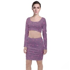 Triangle Background Abstract Long Sleeve Crop Top & Bodycon Skirt Set