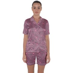 Triangle Background Abstract Satin Short Sleeve Pyjamas Set