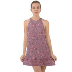 Triangle Background Abstract Halter Tie Back Chiffon Dress