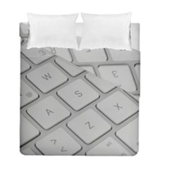 Keyboard Letters Key Print White Duvet Cover Double Side (full/ Double Size)