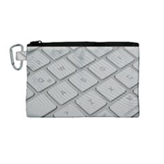 Keyboard Letters Key Print White Canvas Cosmetic Bag (medium)