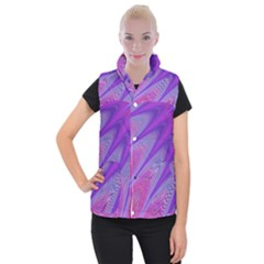 Purple Star Sun Sunshine Fractal Women s Button Up Puffer Vest