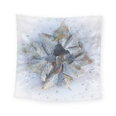 Winter Frost Ice Sheet Leaves Square Tapestry (small)