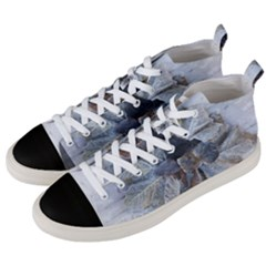 Winter Frost Ice Sheet Leaves Men s Mid Top Canvas Sneakers by BangZart