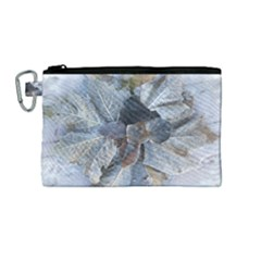 Winter Frost Ice Sheet Leaves Canvas Cosmetic Bag (medium)
