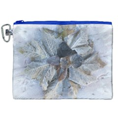 Winter Frost Ice Sheet Leaves Canvas Cosmetic Bag (xxl)