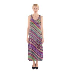 Wave Abstract Happy Background Sleeveless Maxi Dress