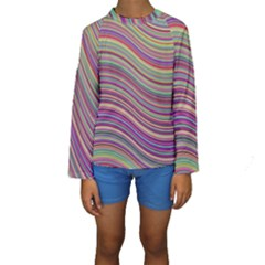 Wave Abstract Happy Background Kids  Long Sleeve Swimwear