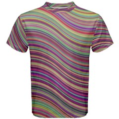 Wave Abstract Happy Background Men s Cotton Tee