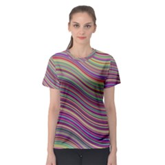 Wave Abstract Happy Background Women s Sport Mesh Tee