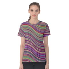 Wave Abstract Happy Background Women s Cotton Tee