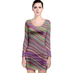 Wave Abstract Happy Background Long Sleeve Bodycon Dress