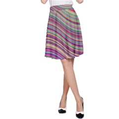 Wave Abstract Happy Background A-Line Skirt