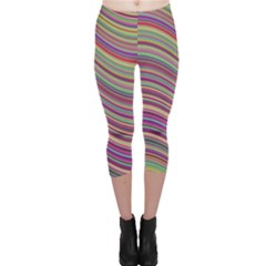 Wave Abstract Happy Background Capri Leggings