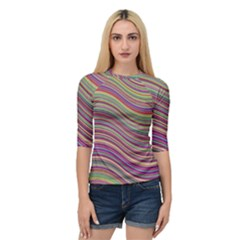 Wave Abstract Happy Background Quarter Sleeve Raglan Tee