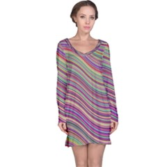 Wave Abstract Happy Background Long Sleeve Nightdress